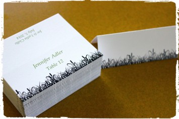 Black and Sage Summer Cattails Place Cards