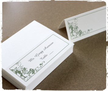 Madison place cards printed in another earthly tone Sage.
