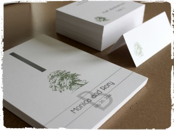 Rustic oak tree place card and table card set with a modern and fun font selection.