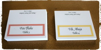 Triple line border color coded menu choice place cards.