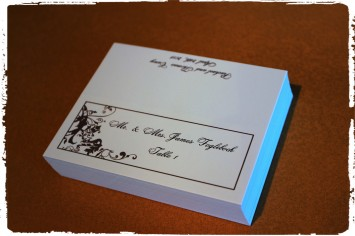 Charcoal Grey Madison on white tented place cards.