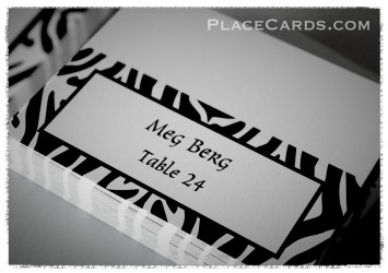 Zebra stripes pattern place cards are all the rage.