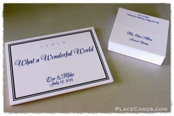 Classic double line border table cards and matching place cards.