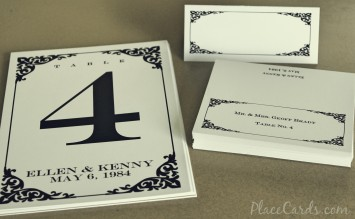 Classic Carlson Place Card and Table Card Set.
