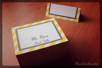 Custom folded place card design, awesome yellow stripes.