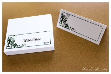 Hunter green madison design on classic white folded place card.