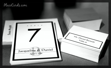 Classic Black White photo of single line border place card and table card set.