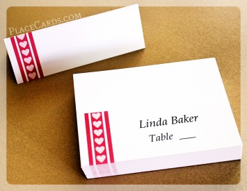 Fuchsia heart on the line place cards.