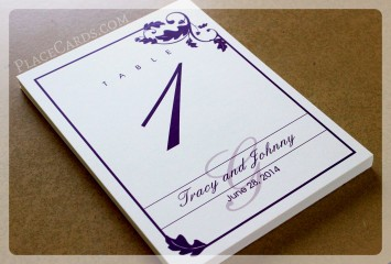 Purple table cards perfect for fall wedding.