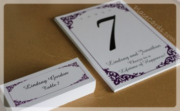 Classic white and purple place card set.