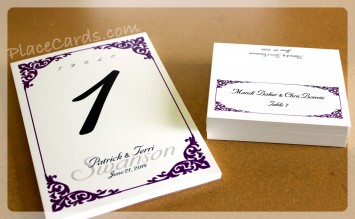 Featured carlson place card and table card set in purple.
