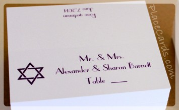 Star of David Mitzvah Place Cards