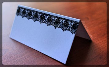 Black Victorian Lace place card in black.