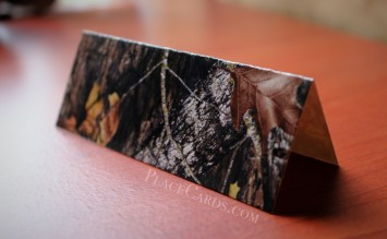 Custom hunting camo themed place card back panel.