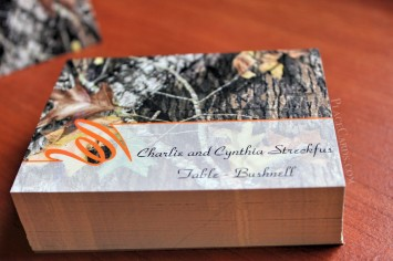 Custom designed hunting themed place cards.