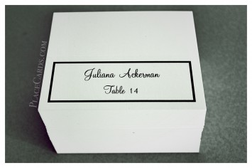 Single Line Border place card in black and white feature.