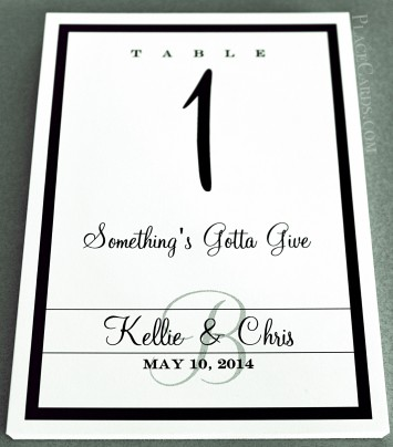Single Line Border Table Card in black and white feature.