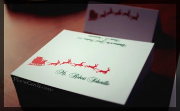 Dashing through the Snow place cards with guest name printing.