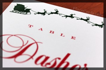 Dashing through the Snow personalized table card closeup.