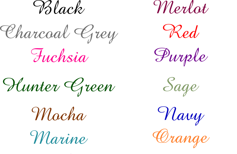 Place Card Ink Colors